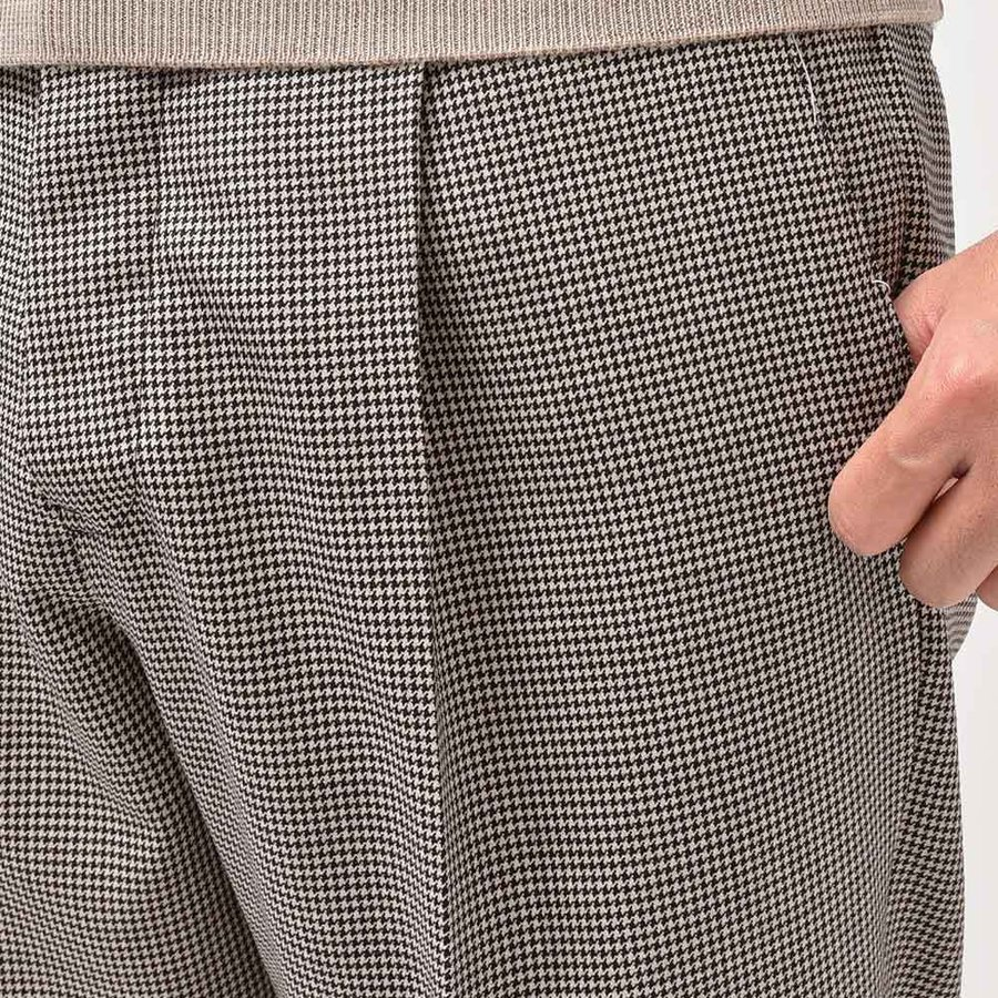 PT TORINO ピーティー トリノ EDGE ウール ハウンドトゥース 1プリーツ パンツ CINQUE|realclothing|06