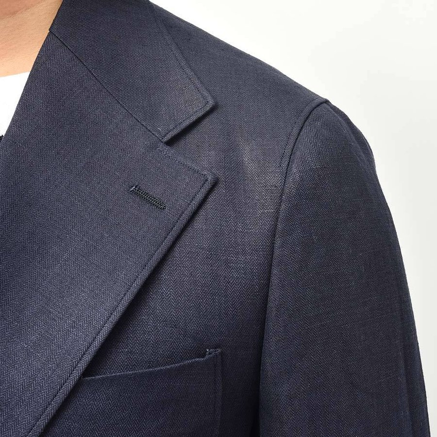 Paul Stuart ポールスチュアート リネン ヘリンボーン セットアップ対応 アンコン仕立て シングル2Bジャケット|realclothing|07