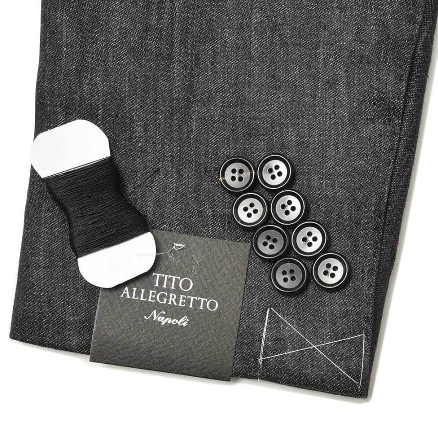TITO ALLEGRETTO ティト アレグレット リネン ブラックデニム ダブル6Bジャケット|realclothing|09