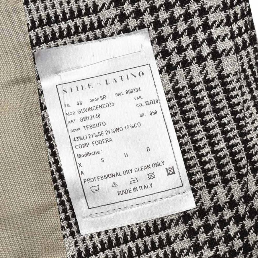 STILE LATINO スティレ ラティーノ リネン シルク ウール コットン グレンチェック シングル3Bジャケット VINCENZO|realclothing|10