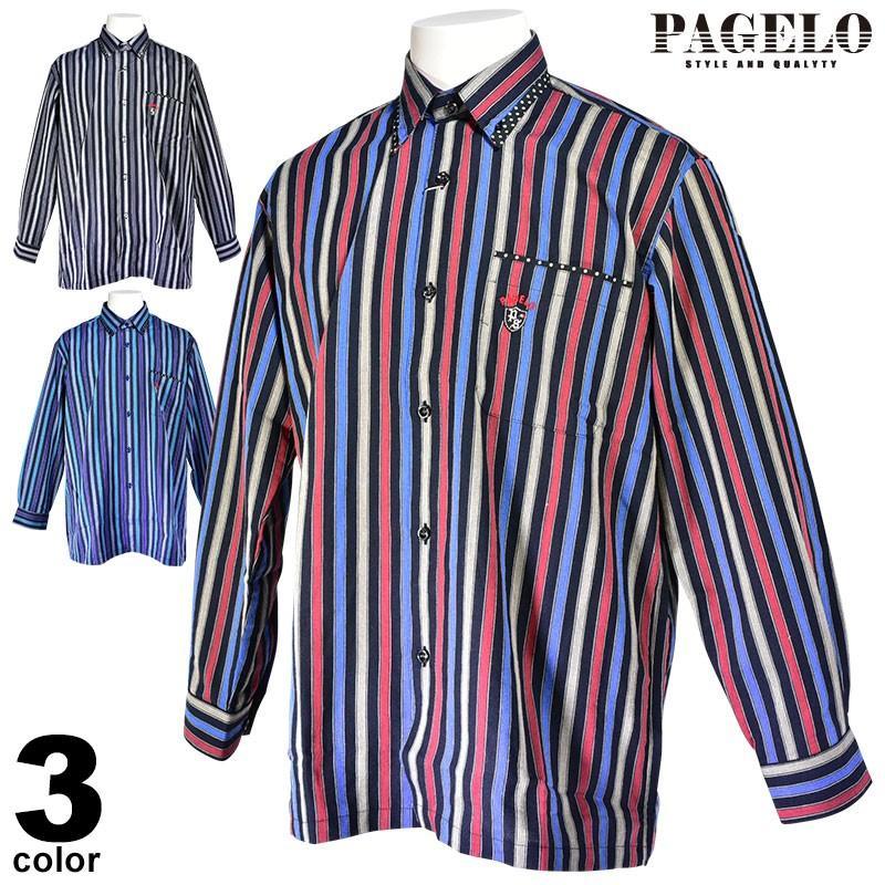パジェロ PAGELO 長袖 カジュアルシャツ メンズ 2020秋冬 ボタンダウン ストライプ ドット柄 07-1128-07|realtree