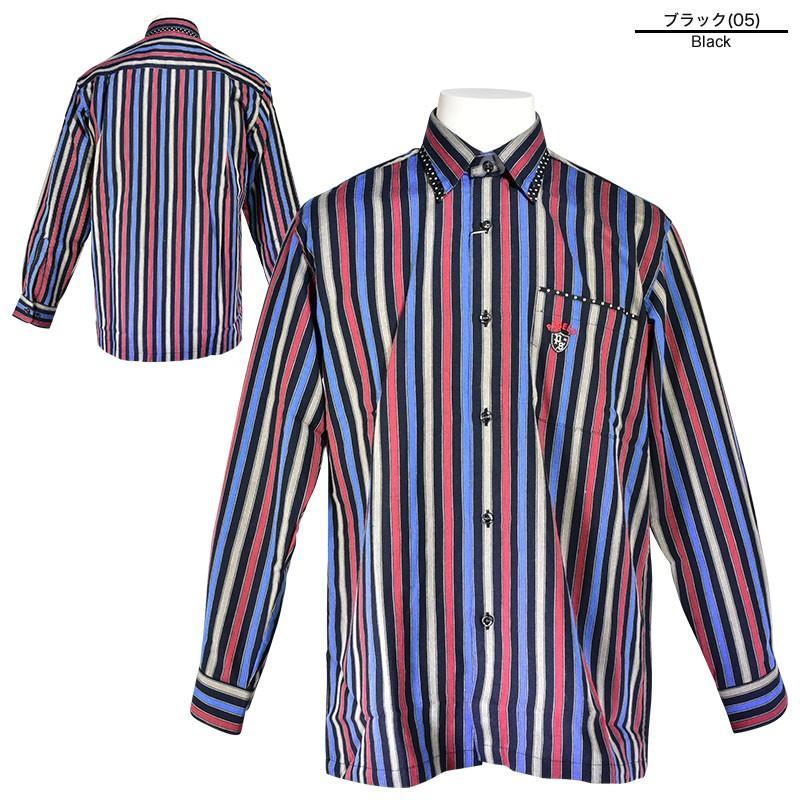パジェロ PAGELO 長袖 カジュアルシャツ メンズ 2020秋冬 ボタンダウン ストライプ ドット柄 07-1128-07|realtree|02