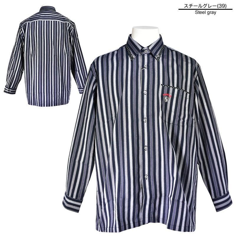 パジェロ PAGELO 長袖 カジュアルシャツ メンズ 2020秋冬 ボタンダウン ストライプ ドット柄 07-1128-07|realtree|03
