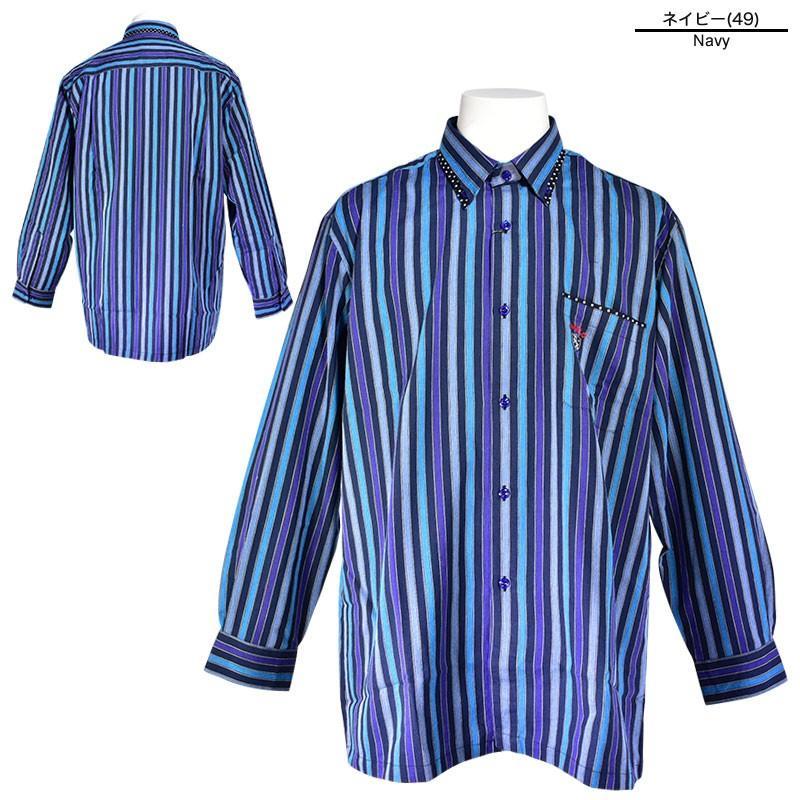 パジェロ PAGELO 長袖 カジュアルシャツ メンズ 2020秋冬 ボタンダウン ストライプ ドット柄 07-1128-07|realtree|04