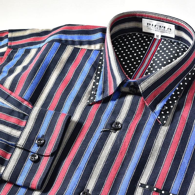 パジェロ PAGELO 長袖 カジュアルシャツ メンズ 2020秋冬 ボタンダウン ストライプ ドット柄 07-1128-07|realtree|05