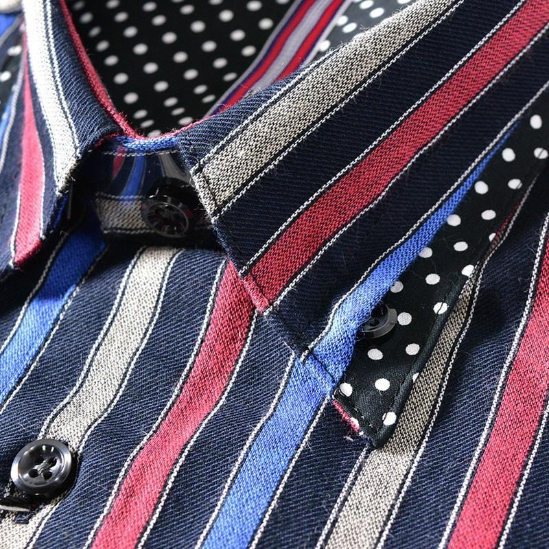 パジェロ PAGELO 長袖 カジュアルシャツ メンズ 2020秋冬 ボタンダウン ストライプ ドット柄 07-1128-07|realtree|06