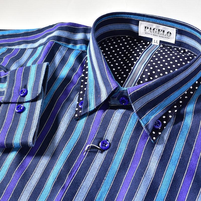 パジェロ PAGELO 長袖 カジュアルシャツ メンズ 2020秋冬 ボタンダウン ストライプ ドット柄 07-1128-07|realtree|09