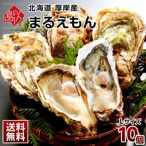 北海道 厚岸産 生牡蠣 まるえもん 殻付き 10個 Lサイズ かき 送料無料 生食可 100%品質保証! 鍋 ギフト カキ 賜物 牡蠣 プレゼント用 内祝