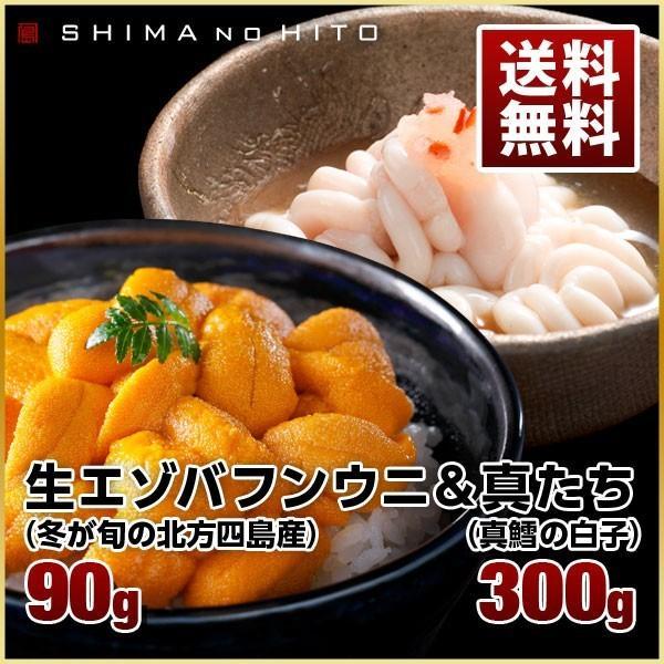 【送料無料】 北方四島産 生 バフンウニ 90g 北海道産 真たち 300g セット