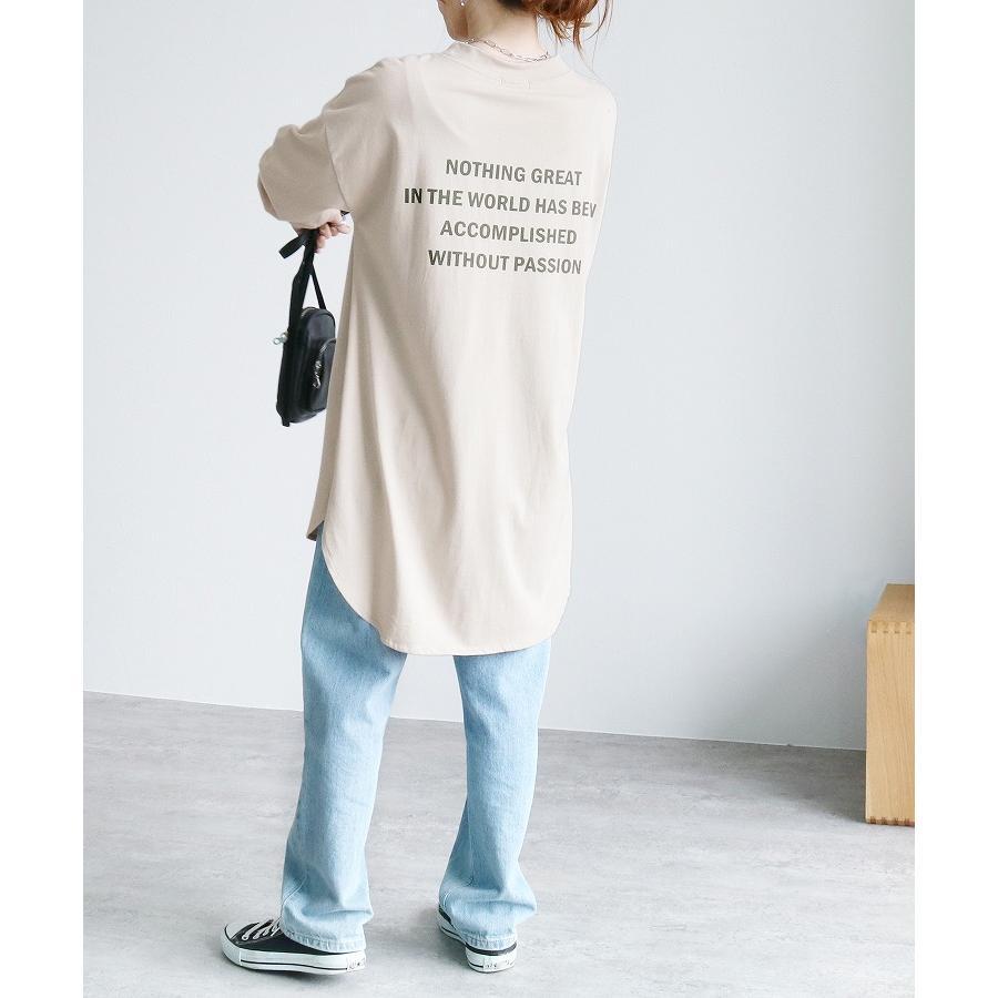 バックプリントロングスリーブTシャツ R21215-k レディース トップス カットソー ロゴT 長袖 ネコポス発送10|reca|10