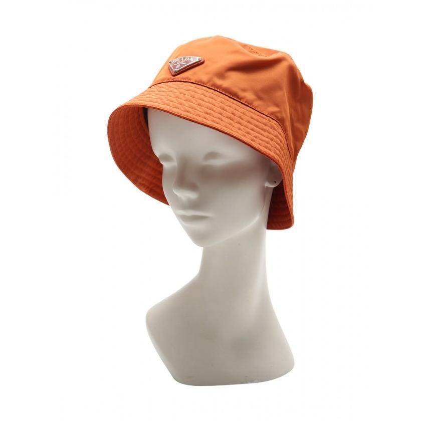 プラダ PRADA レインハット バケットハット 帽子 ナイロン オレンジ 三角プレート メンズ 中古