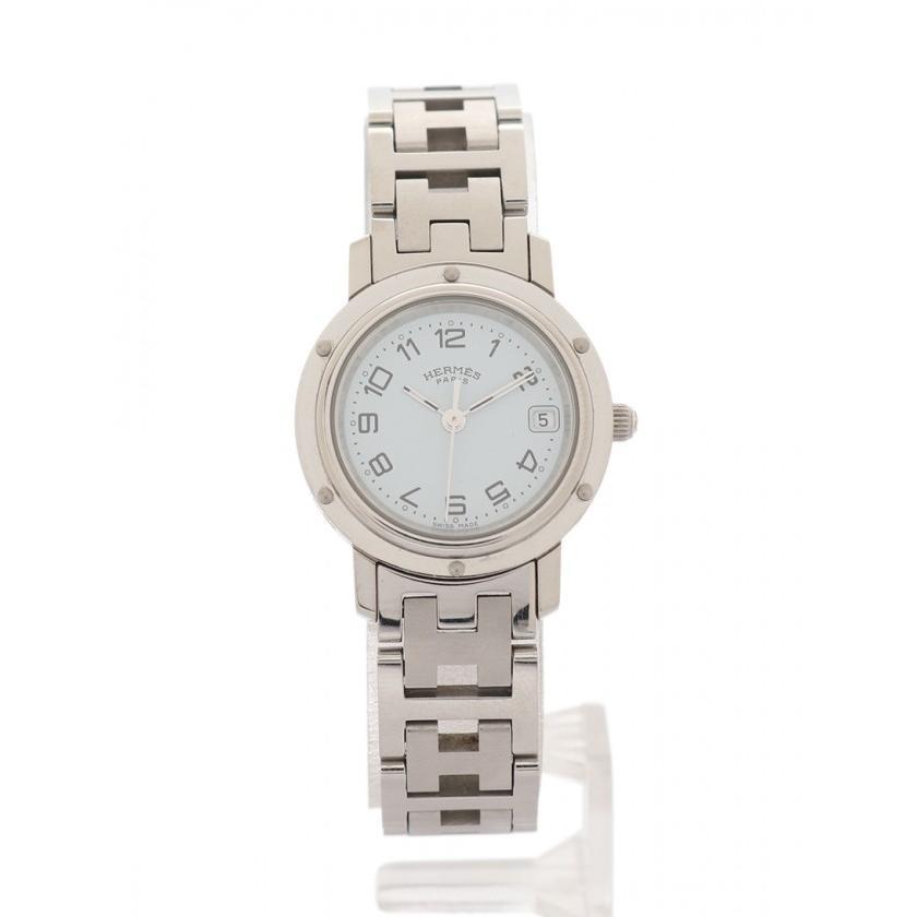 【中古】 エルメス HERMES クリッパー 腕時計 レディース SS シルバー 白文字盤 CL4.210 レディース, きものレンタル かしいしょうAYA f733b555