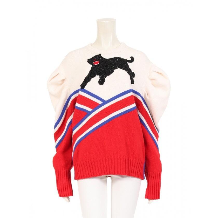 楽天 グッチ GUCCI パンサーアップリケ プルオーバー ニット ビーズ刺繍 ウール アイボリー 赤 青 黒 445762 レディース, 洋服小物 なでしこ df436a47
