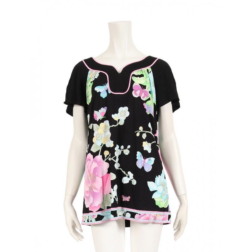 低価格で大人気の レオナールファッション LEONARD FASHION カットソー 花柄 半袖 黒 マルチカラー レディース, ヤブヅカホンマチ 145677e3