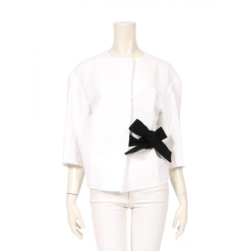 新品?正規品  マルニ MARNI ノーカラージャケット 白 黒 カットオフ レディース, ビックスマーケット e48927f0
