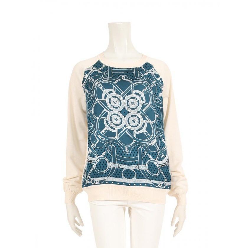 最新のデザイン エルメス HERMES セーター ニット ウール 水色 アイボリー 白 レディース, 加茂郡 5501235d