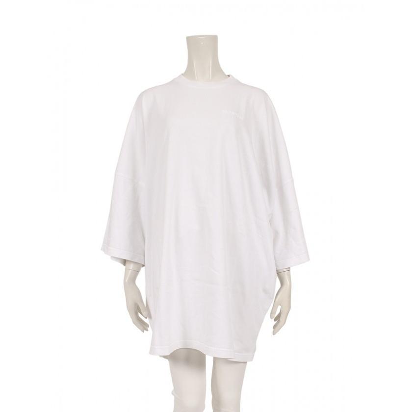 優先配送 バレンシアガ BALENCIAGA クルーネックTシャツ 刺繍 コットン 白 オーバーサイズ 2018AW 528409 ユニセックス, 常呂町 4d0786e1