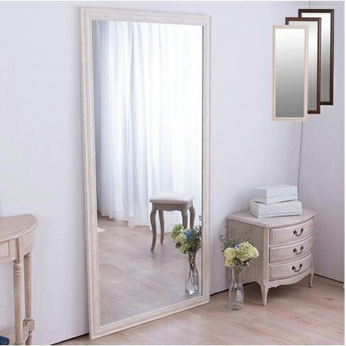 鏡 正規取扱店 人気ブレゼント ミラー 全身 姿見 アンティーク調大型ミラーW90 ホワイト ライトブラウン 全身鏡 幅90ビッグミラー ブラウン 壁掛け 代引不可