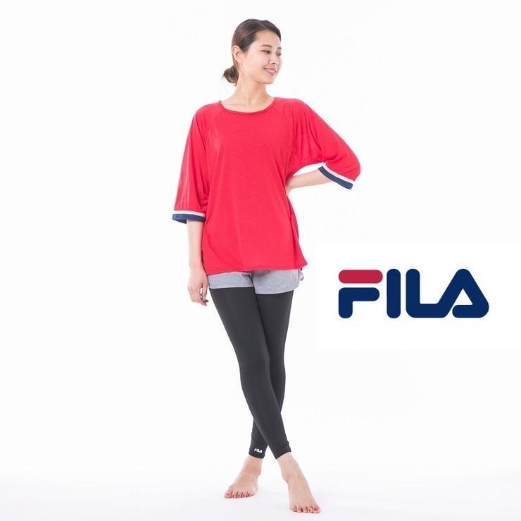 FILA fila フィラ 水陸両用 授与 今だけ限定15%OFFクーポン発行中 ホットヨガ4点セット ヨガ スポーツ ジムウェア スポーツウェア シャツ ウェア ジム ヨガウェア