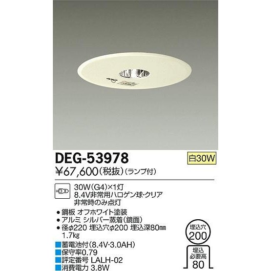 DAIKO 大光電機 埋込タイプ非常灯 埋込タイプ非常灯 DEG-53978
