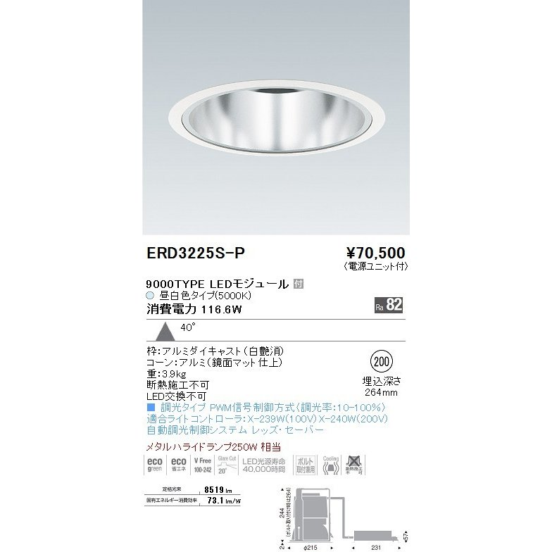 ENDO 遠藤照明 ダウンライト ERD3225S+P