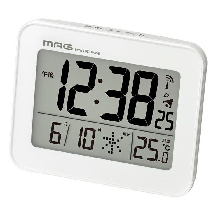 ノア精密 MAG マグ 電波目覚まし時計 コードロン セール特価品 舗 T-761WH-Z 電波時計 時間 置き時計 カレンダー シンプル 温度 時計 デジタル