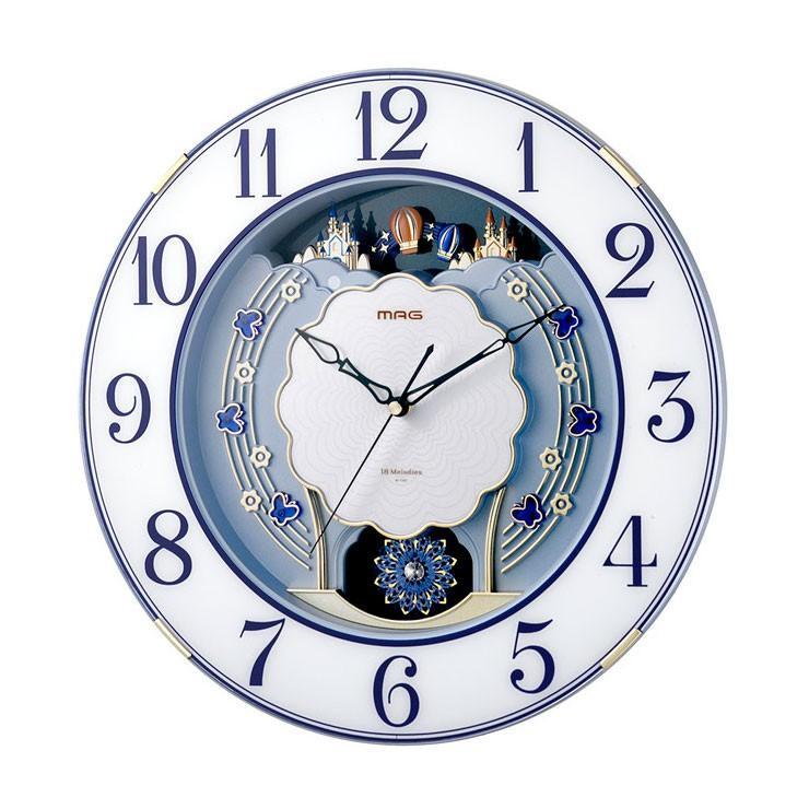 年中無休 ノア精密 MAG電波報時掛時計 当店は最高な サービスを提供します ルネッタ W-726 メロディ ブルー BU
