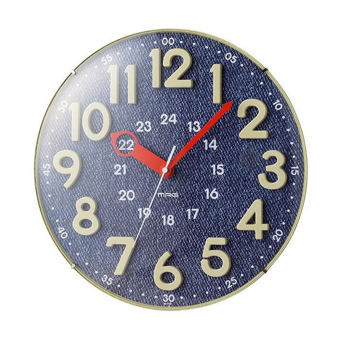 ノア精密 日本製 MAG 着後レビューで 送料無料 掛け時計 アナログ電波ウォールクロック W-750 BU 電波時計 かわいい 夜間秒針停止機能