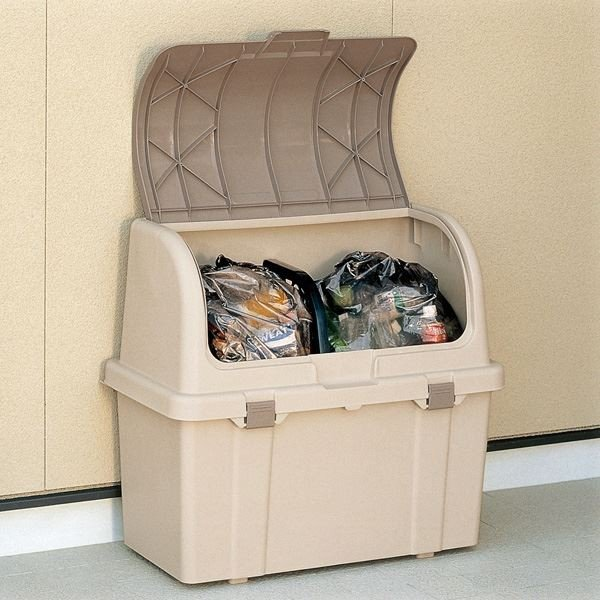 大容量ゴミ箱収納庫/分別ストッカー 〔屋外用 220L〕 フタ:片手開閉可 ベージュ 日本製