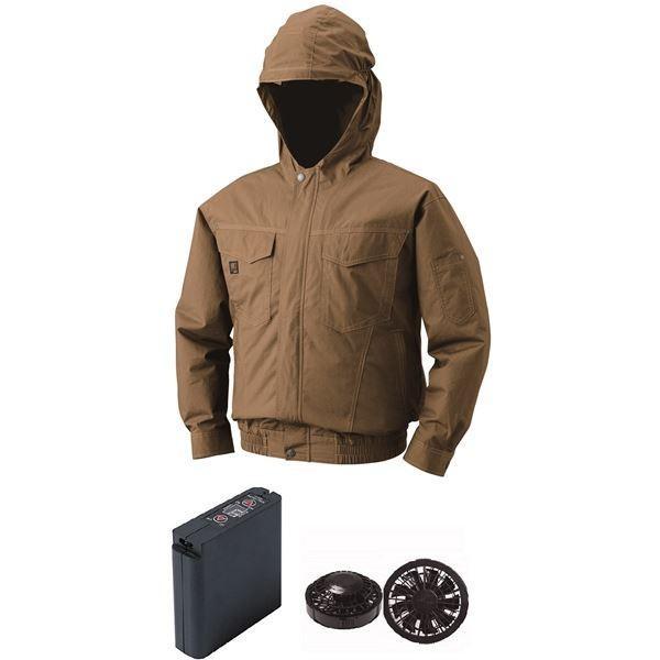空調服 フード付綿薄手空調服 大容量バッテリーセット ファンカラー:ブラック 1410B22C20S4 〔カラー:キャメル サイズ:2L 〕