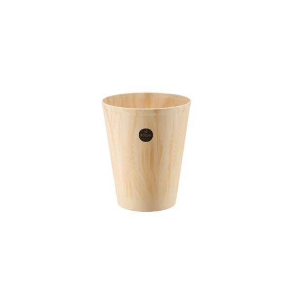 (まとめ) 木目調 ダストボックス/ゴミ箱 〔L ベージュ〕 プラスティック製 『コズエ カン』 〔×20個セット〕