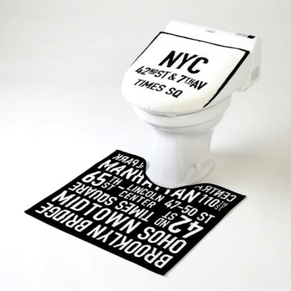 ヨコズナクリエーション 毎日激安特売で 営業中です トイレマットamp;トイレふたカバー 2点セット 兼用 タイムズスクエア 贈与 代引不可