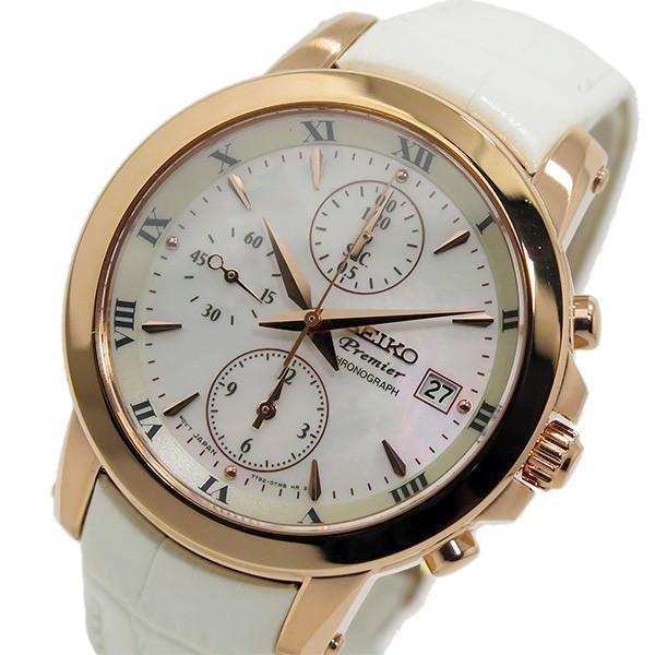愛用 セイコー プルミエ クロノ クオーツ レディース 腕時計 SNDV66P1 ホワイトシェル, ダイセンチョウ b622d9eb