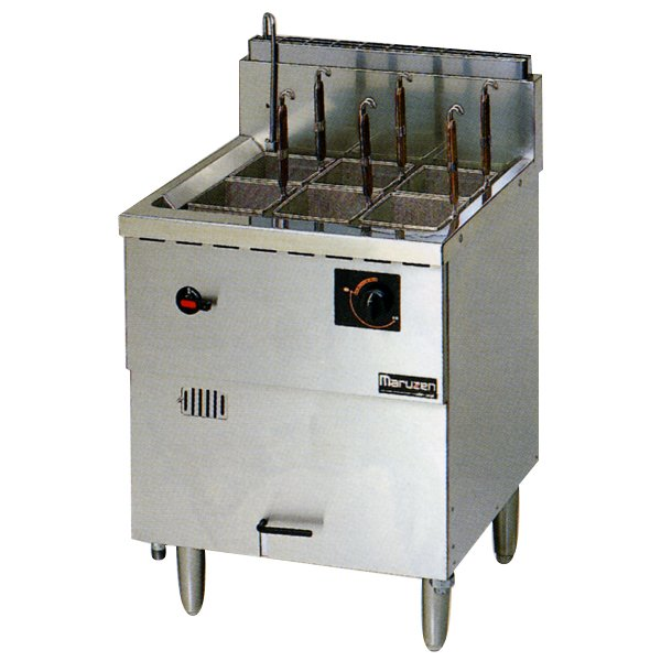 【メーカー保証+当店特別保証 合計2年保証付き!】新品:マルゼン 1槽式 ガス式冷凍麺釜 (ゆでカゴ6つ) MRF-066C