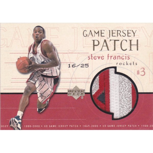1999-00 UD Game Jersey Patch Super Steave Francis