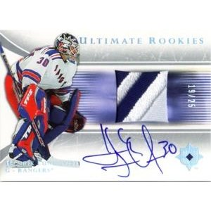 2005-06 #97 UD Ultimate Collection Ultimate Rookies RC Patch Autograph Henrik Lundqvist 19/25
