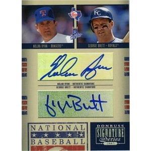 2005 Donruss Signatures HOF Combos Autographs #HOF43 Nolan Ryan/George Brett
