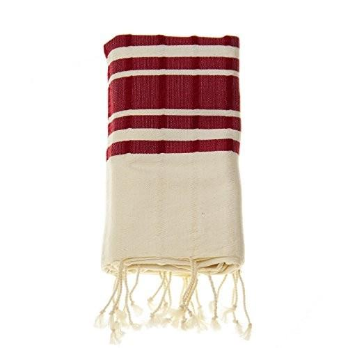 トルコ ブルダン織り 手織りタオルケット コットン×バンブー レッド