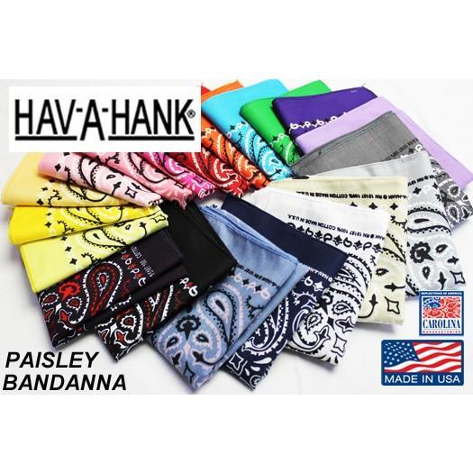 ハバハンク HAV-A-HANK / MADE IN U.S.A. ペイズリーバンダナ PAISLEY BANDANNA (54cm×54cm)  [12枚までメール便発送対応]|redwood