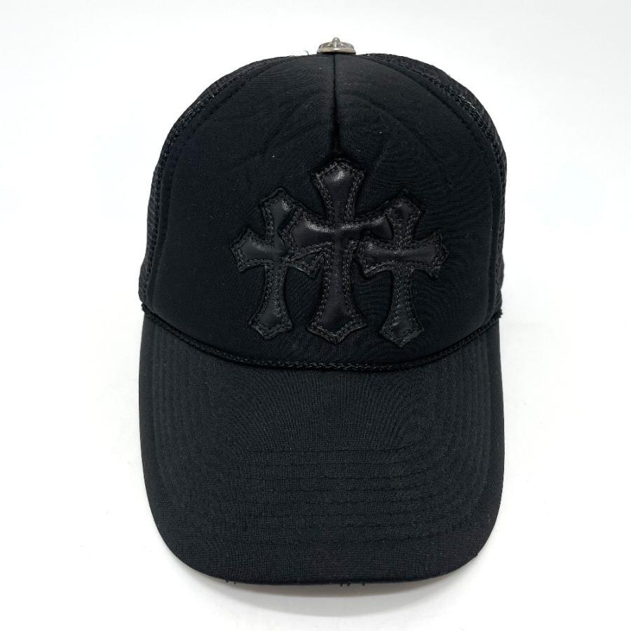 CHROME HEARTS クロムハーツ レザーパッチ 3セメタリークロス 帽子 ブラック メンズ 【中古】 reference 02