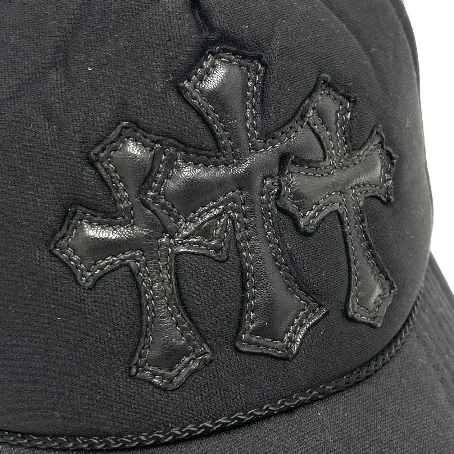 CHROME HEARTS クロムハーツ レザーパッチ 3セメタリークロス 帽子 ブラック メンズ 【中古】 reference 04
