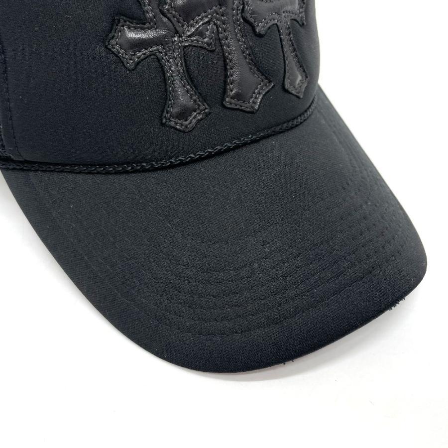 CHROME HEARTS クロムハーツ レザーパッチ 3セメタリークロス 帽子 ブラック メンズ 【中古】 reference 05