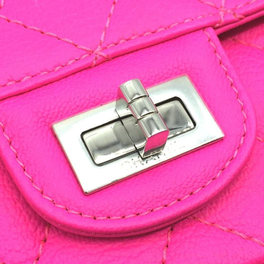 CHANEL シャネル 2.55 ミニ マトラッセ Wチェーン ショルダーバッグ ピンク ショッキングピンク レディース  未使用【中古】|reference|04