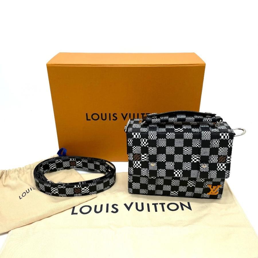 LOUIS VUITTON ルイヴィトン N50032 フラップ・ソフトトランク ダミエ ディストーテッド ハンドバッグ ブラック×ホワイト メンズ  新品同様【中古】 reference 13