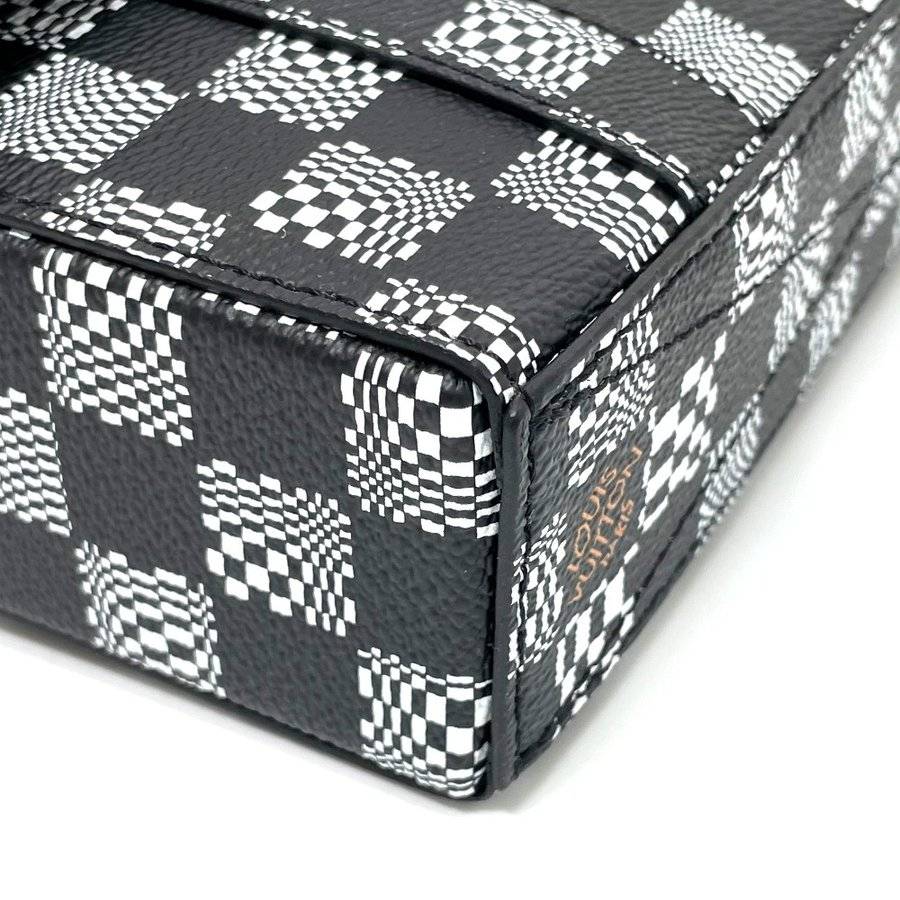 LOUIS VUITTON ルイヴィトン N50032 フラップ・ソフトトランク ダミエ ディストーテッド ハンドバッグ ブラック×ホワイト メンズ  新品同様【中古】 reference 07