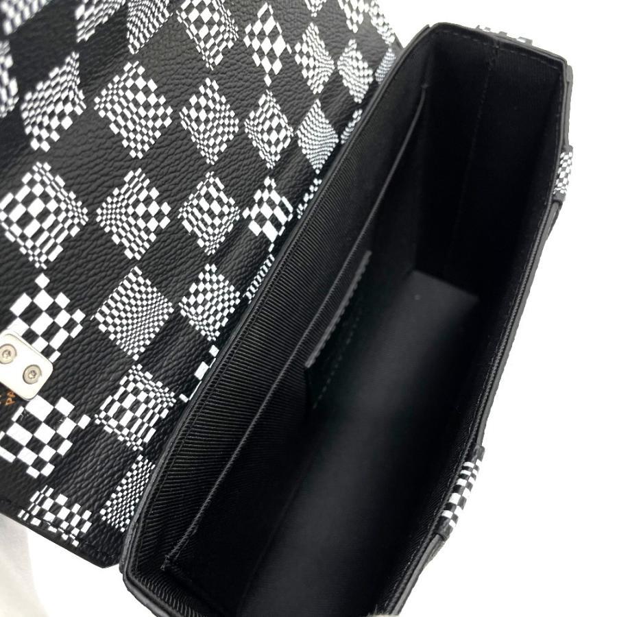 LOUIS VUITTON ルイヴィトン N50032 フラップ・ソフトトランク ダミエ ディストーテッド ハンドバッグ ブラック×ホワイト メンズ  新品同様【中古】 reference 10