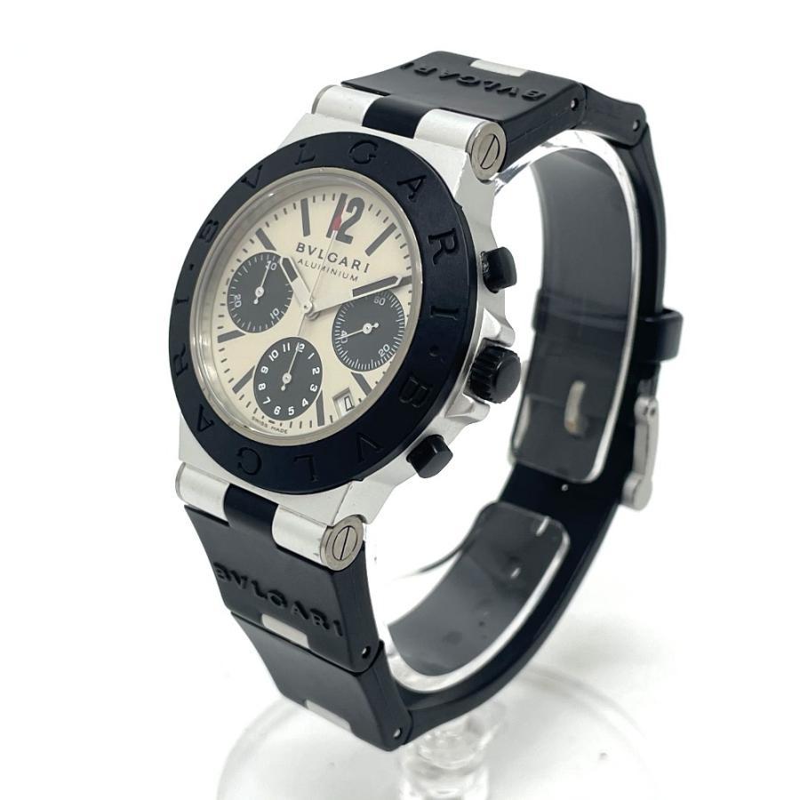 BVLGARI ブルガリ AC38TA アルミニウム クロノグラフ デイト 腕時計 ブラック×シルバー メンズ 【中古】 reference 02