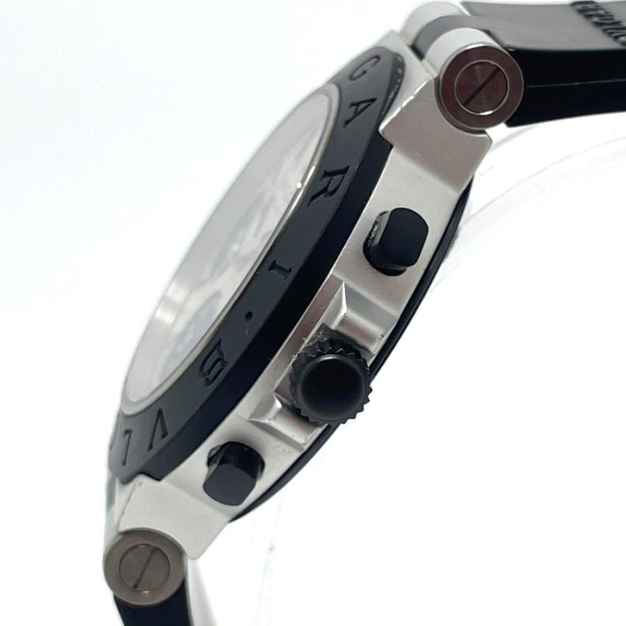 BVLGARI ブルガリ AC38TA アルミニウム クロノグラフ デイト 腕時計 ブラック×シルバー メンズ 【中古】 reference 03