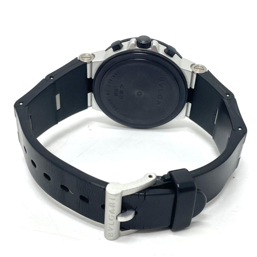 BVLGARI ブルガリ AC38TA アルミニウム クロノグラフ デイト 腕時計 ブラック×シルバー メンズ 【中古】 reference 06