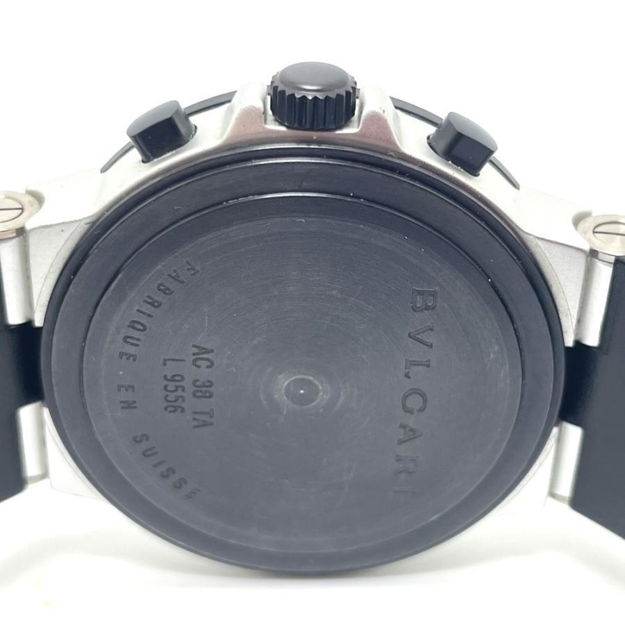 BVLGARI ブルガリ AC38TA アルミニウム クロノグラフ デイト 腕時計 ブラック×シルバー メンズ 【中古】 reference 08